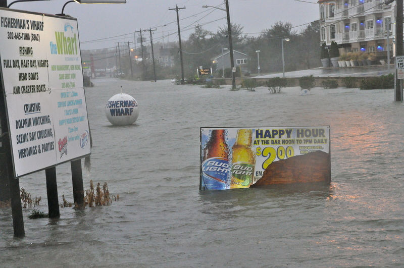 The Area Around Wharf Restaurant Along Lewes Rehoboth C Is Inundated With Water By Ron Macarthur