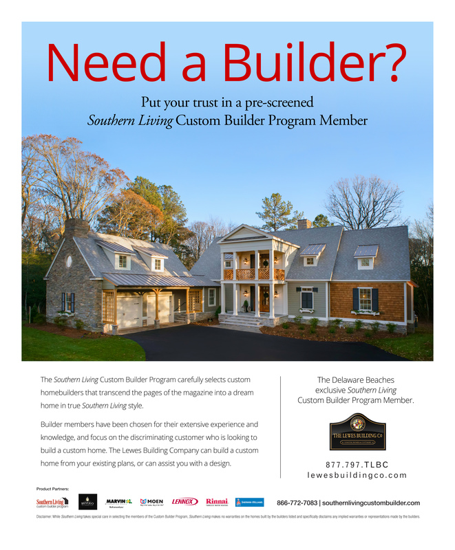 Southern living home available cape gazette for Custom home builder magazine
