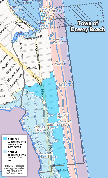 The New Proposed Flood Hazard Map For Dewey Beach Shows Much Of Properties Remain In Same Zone But Upwards 50 Have Changed From One To