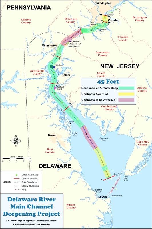 Miles Of The Delaware River Channel Deepening Project Seen In Yellow On This Map Will Provide Material For Beach Replenishment At Broadkill