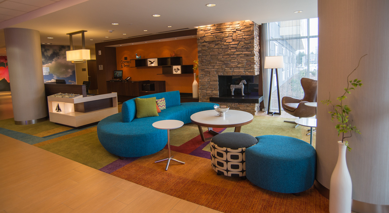 The Lobby At The Fairfield Inn U0026 Suites By Marriott Is A Vibrant Mix Of  Mid Century Modern Furniture And Contemporary Sleek Lines. BY DENY HOWETH
