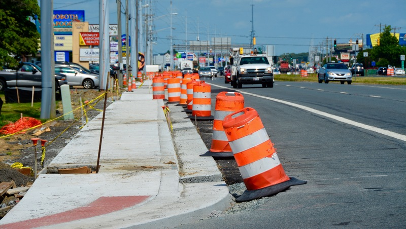 Orange Cones Have Become A Familiar Site Along Route 1 As Pedestrian Safety Project Continues Into The Summer Season By Ron Macarthur