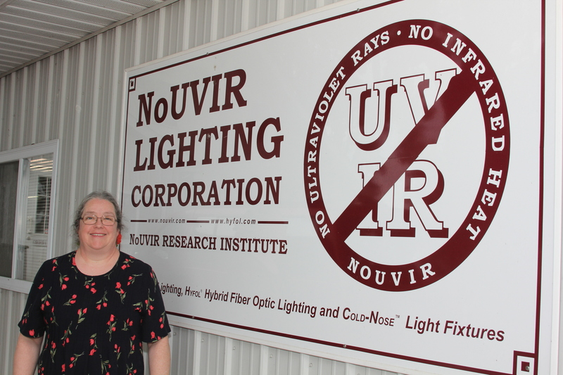 lighting treasures. ruth ellen miller stands in front of her lighting business near seaford by melissa steele treasures e