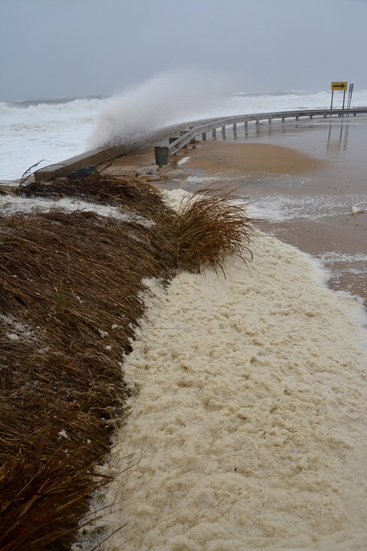 High Winds Drive Wave Spray Over The Sea Wall In North Rehoboth Beach By Ron Macarthur