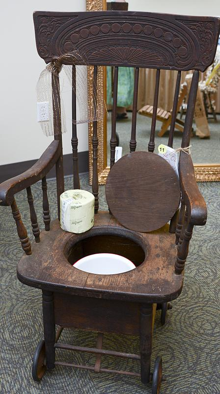 One of the live auction items was an antique potty chair. - Kinfolk Raises  Funds - Antique Potty Chair Antique Furniture