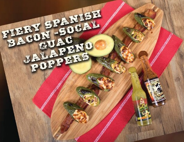 Fiery bacon and guac jalapeo poppers recipe made with jak jeckel jak jeckel ocino de fuego fiery spanish bacon hot sauce socal guac sauce hot avocado sciox Images