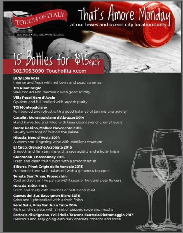 specials, wine, italian