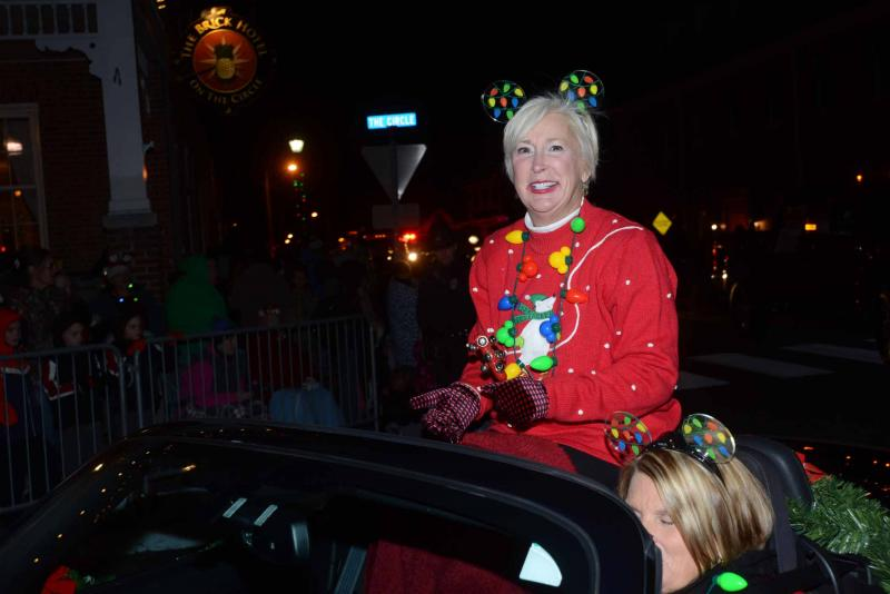 wearing her best christmas sweater rep ruth briggs king r georgetown smiles in the parade