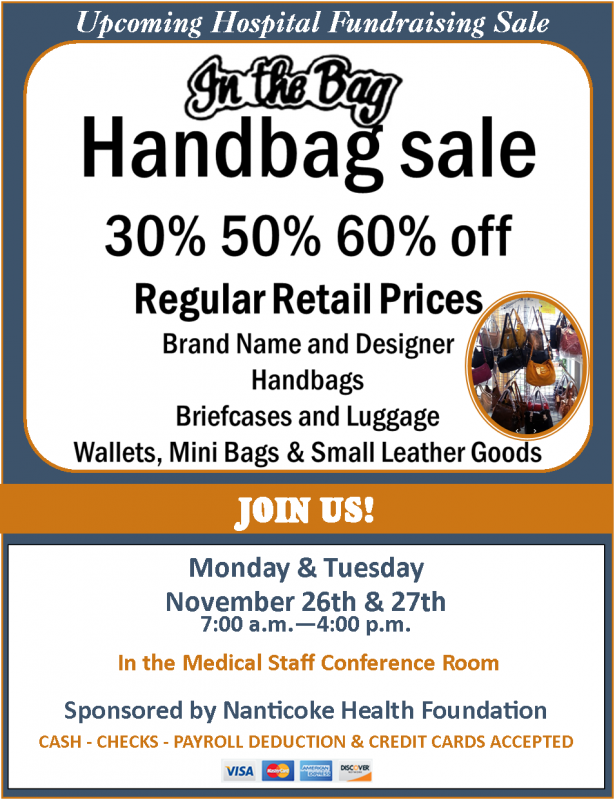 IN THE BAG SALE TO BENEFIT NANTICOKE HEALTH FOUNDATION