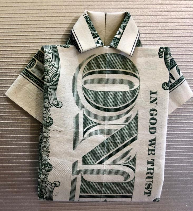 Money Origami Shirt and Tie Folding Instructions | 800x732