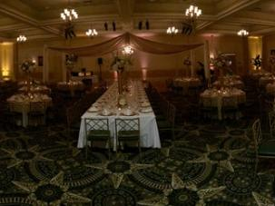 Beautiful ballroom setting seating up to 350 guests with fine dining menu and bar options.